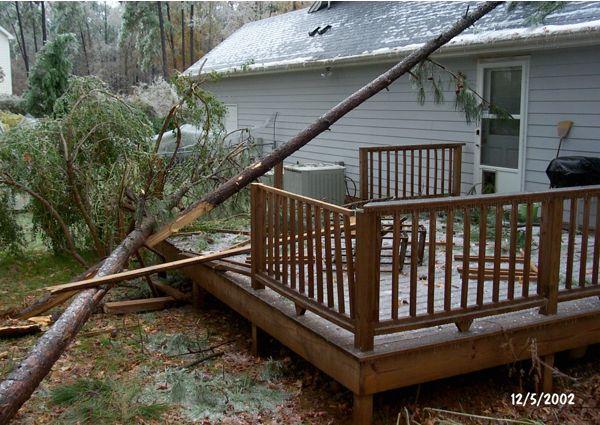 Rear deck damage - 2002