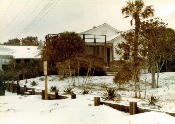 Folly Beach house and wall - 1980