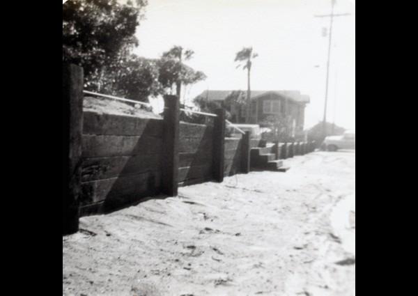 Railroad tie wall - Folly Beach - 1979