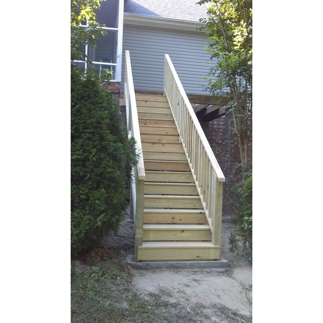 Staircase from the bottom concrete pad.